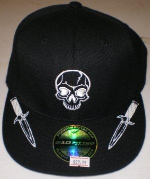 KREW Mens Skull Hat Fitted Blk sz: 71/4-75/8  NEW w/ Tags