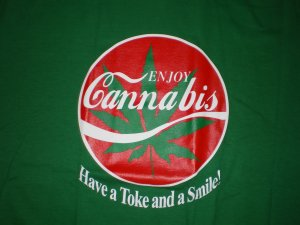 Enjoy Cannabis T-shirt Grn/Red New!