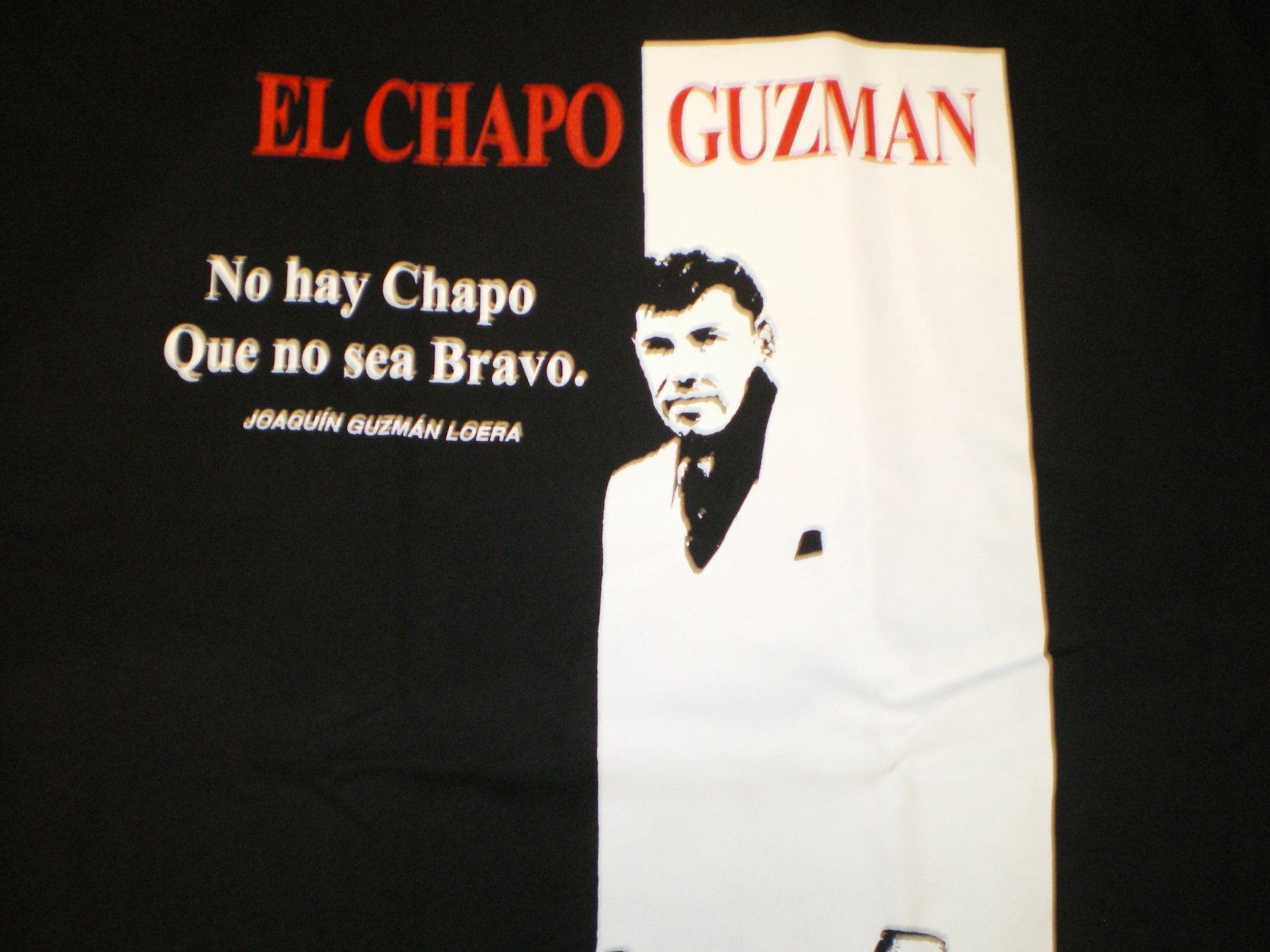 El Chapo Guzman T-shirt Blk/Red New!