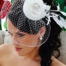 Haute Couture Ivory Bridal Feather Hat with Stunning Rhinestone Detail and Birdcage Veil