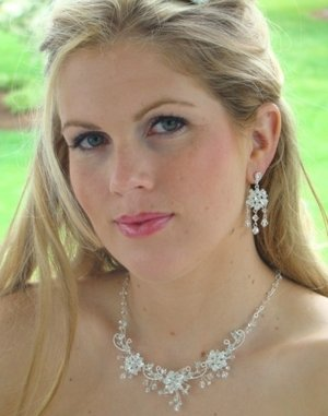Swarovski Crystal Bridal Necklace &amp; Chandelier Earrings