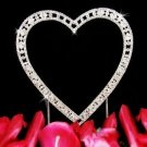 SILVER & SWAROVSKI CRYSTALS HEART WEDDING CAKE TOPPER