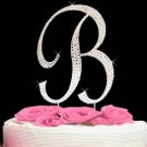 Large Silver Plated Crystal Initial Wedding Cake Topper - Your letter choice!