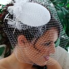 NEW! Vintage Look Bridal Wedding Hat with Feathers and Birdcage Veil in White or Ivory