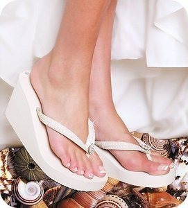 b1f8b5f00118 White Bridal Wedge Flip Flops With Sequins for Prom