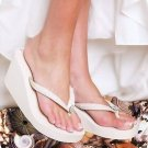 White Bridal Wedge Flip Flops With Sequins for Prom, Wedding