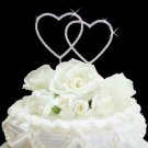 DOUBLE HEART SILVER & CRYSTAL WEDDING CAKE TOPPER!