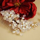 Freshwater Pearl and Swarovski Crystal Gold Plated Bridal Wedding Comb