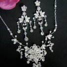 Couture Crystal Bridal Jewelry Necklace and Chandelier Earring Set