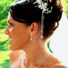 Silver Plated Floral Bridal Comb with Crystal Dangles