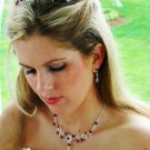 Couture Crystal Bridal Jewelry and Wedding Tiara Set Red Accents!