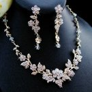 Crystal and Rhinestone Gold Plated Wedding Jewelry Set