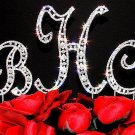 SILVER Swarovski CRYSTAL Monogram Wedding CAKE TOPPER