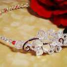 RED SWAROVSKI CRYSTAL HEADBAND BRIDAL TIARA SIDE ACCENT