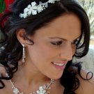 Silver Plated Clear and AB Crystal Wedding Tiara & Jewelry Set