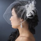 NEW! White Vintage Style Feather Fascinator & Birdcage Veil!