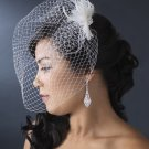 Vintage Look Feather Fascinator and Birdcage Veil! White or Ivory