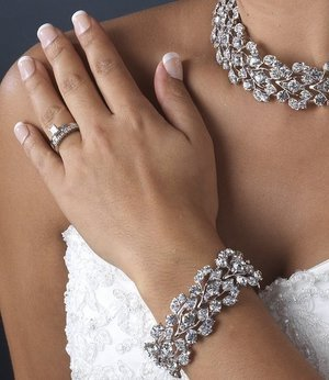 NEW Silver Plated Vine Rhinestone Bridal Stretch Bracelet!