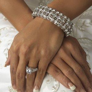 Silver Plated Rhinestone Bridal Wedding Stretch Bracelet!