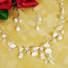 Beach Wedding Keshi Pearl Silver Plated Bridal Jewelry Set!