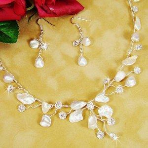 Beach Wedding Keshi Pearl Silver Plated Bridal Jewelry Set!