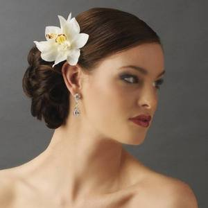 NEW! Double White Orchid Bridal Tropical Flower Wedding Hair Clip
