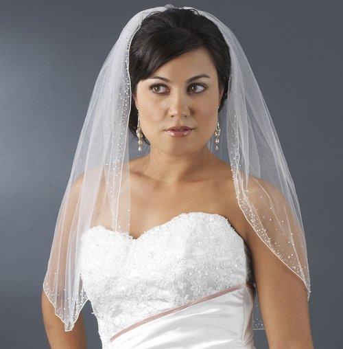 Crystal Beaded Elbow Length Wedding Veil in White, Diamond White or Ivory