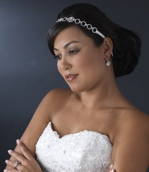 SATIN RIBBON BRIDAL HEADBAND CRYSTAL & RHINESTONE!