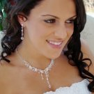 Crystal Drop Silver Plated Bridal Wedding Jewelry Set
