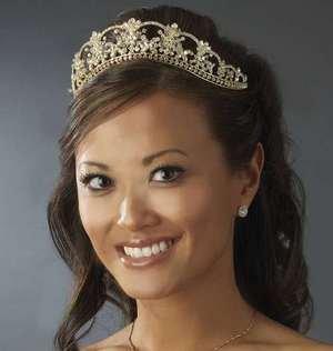 Regal Gold Plated Swarovski Crystal Bridal Wedding Tiara Crown