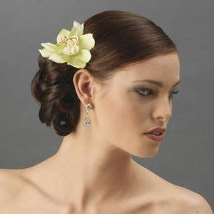 Double Mint Green Orchid Bridal Troptical Wedding Flower Hair Clip!