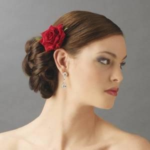 NEW!  Romantic Red Rose Bridal Flower Wedding Hair Clip!