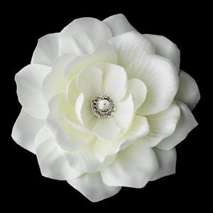 New! White Bridal Flower Rhinestone Wedding Hair Clip!