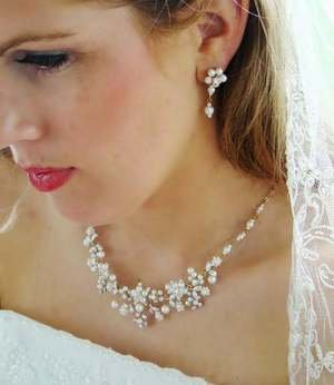 NEW! GOLD FLORAL PEARL & CRYSTAL BRIDAL JEWELRY SET