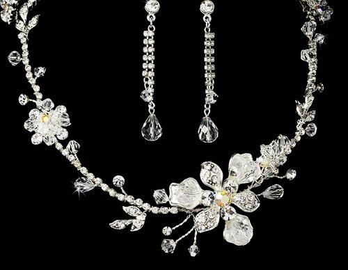 Silver Plated AB Crystal Wedding Bridal Jewelry Set