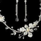 Silver Plated AB Crystal Wedding Bridal Jewelry Set