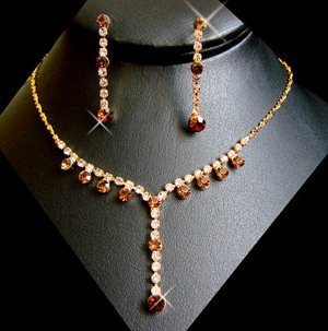 5 Sets! Gold Plated Brown Rhinestones Bridesmaid Jewelry