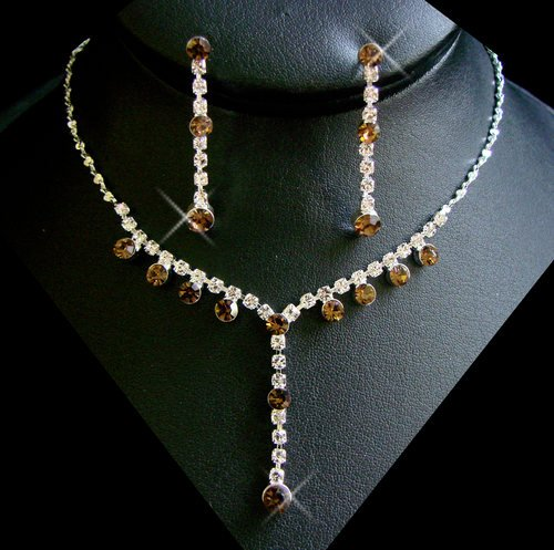 5 Sets Silver Brown Rhinestone Bridesmaid Jewelry Sets