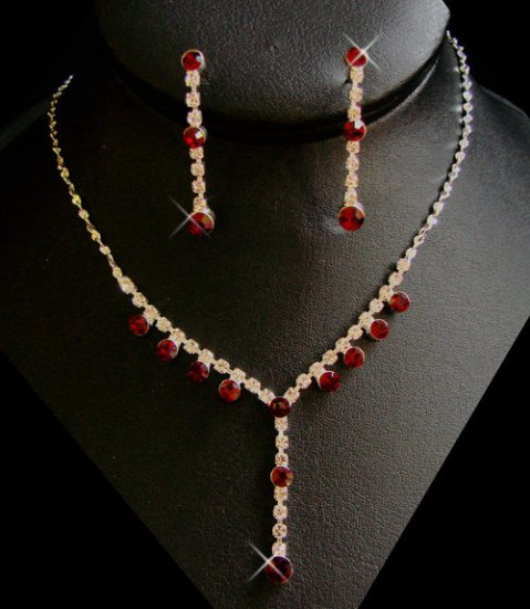 5 Sets! Red Rhinestone Bridesmaid Necklace Jewelry Sets