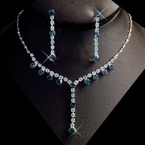 5 Sets! Navy Blue Rhinestone Bridesmaid Wedding  Jewelry Sets!