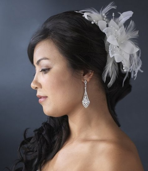 NEW! White Bridal Beaded Feather Fascinator Hair Comb!