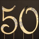 14K GOLD 50th GOLDEN ANNIVERSARY CAKE TOPPER! CRYSTALS!