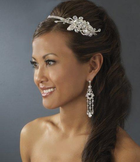 Dazzling Crystal & Rhinestone Wedding Prom Side Accent Bridal Headband Tiara