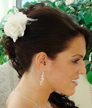 Elegant White Bridal Wedding  Flower Fascinator With Feathers!