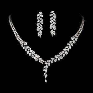 Silver Plated Cubic Zirconia Bridal Wedding Jewelry Set!