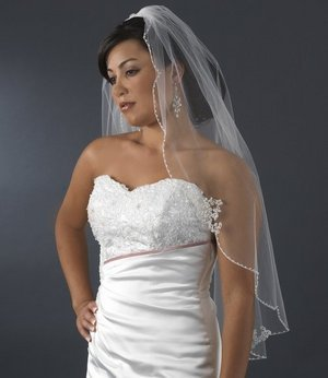 Ivory Beaded Embroidered Fingertip Length Bridal Wedding Veil!