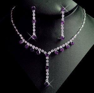 5 Sets! Amethyst Rhinestone Silver Bridesmaid Wedding Jewelry