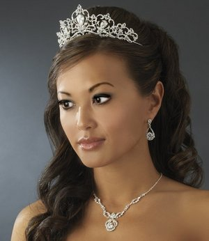 Stunning Royal Rhinestone BRIDAL TIARA and Wedding JEWELRY SET