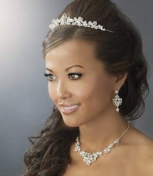 Floral Silver Plated Wedding Tiara and Jewelry Set