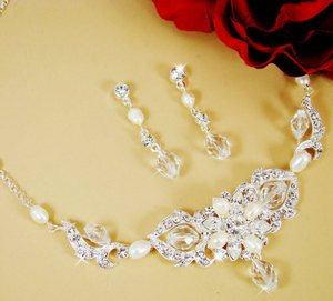 Crystal Freshwater Pearl Bridal Wedding Jewelry Set